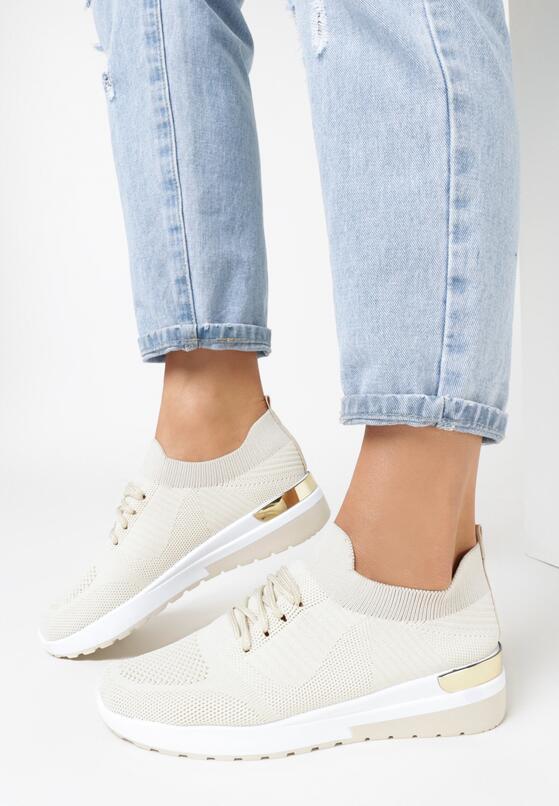 Beżowe Buty Sportowe Klephisha