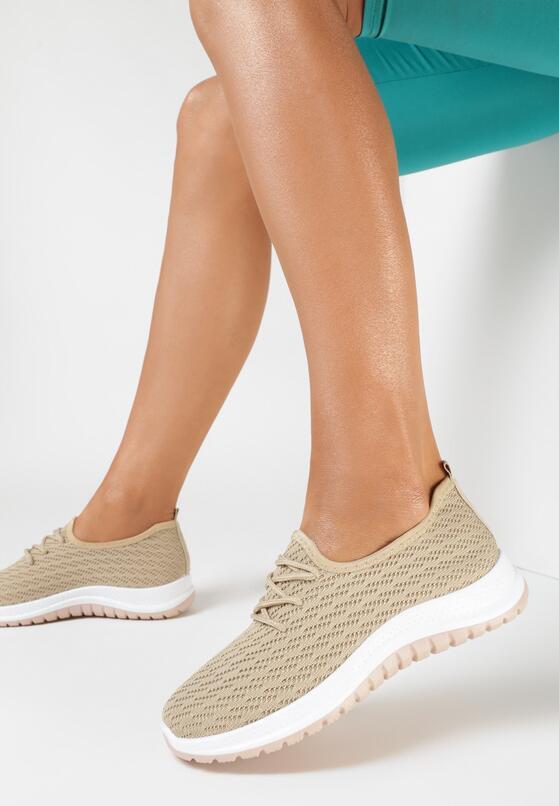 Beżowe Buty Sportowe Vyloris