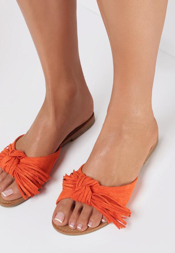 Pomarańczowe Klapki Delora