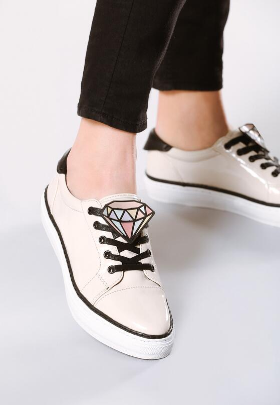 Beżowe Buty Sportowe Daimond