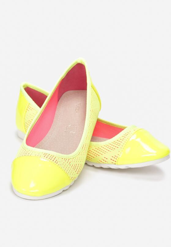 Żółte Neonowe Baleriny Ranes