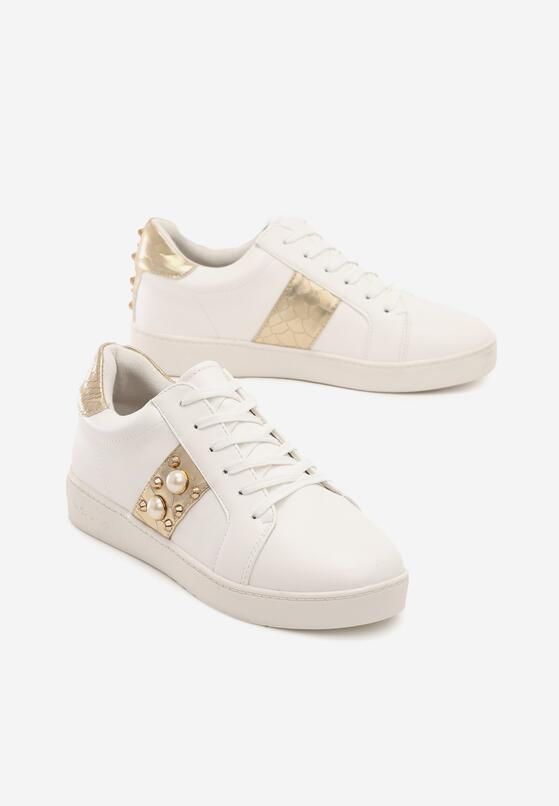 Biało-Złote Buty Sportowe Howin