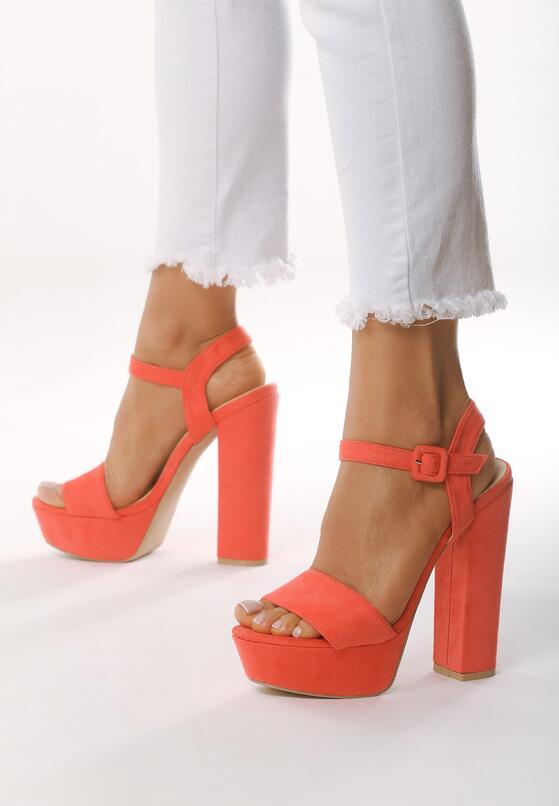 Pomarańczowe  Sandały Chic Heels