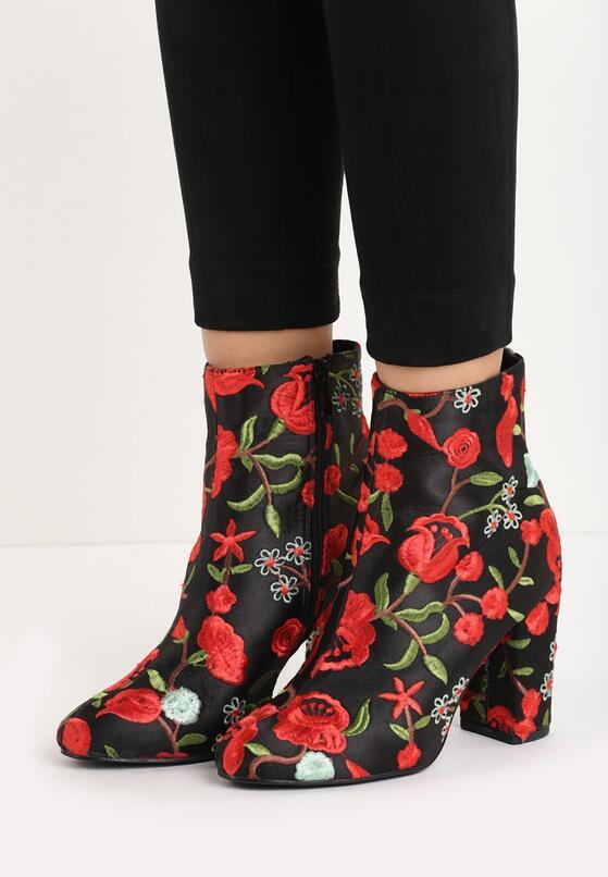 Czarno-Czerwone Botki Dancing Flowers