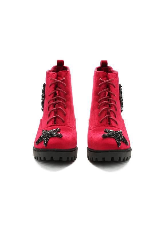 Czerwone Welurowe Botki Black Star