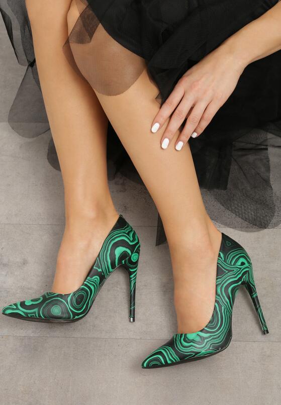 Czarno-Zielone Szpilki Wardrobe