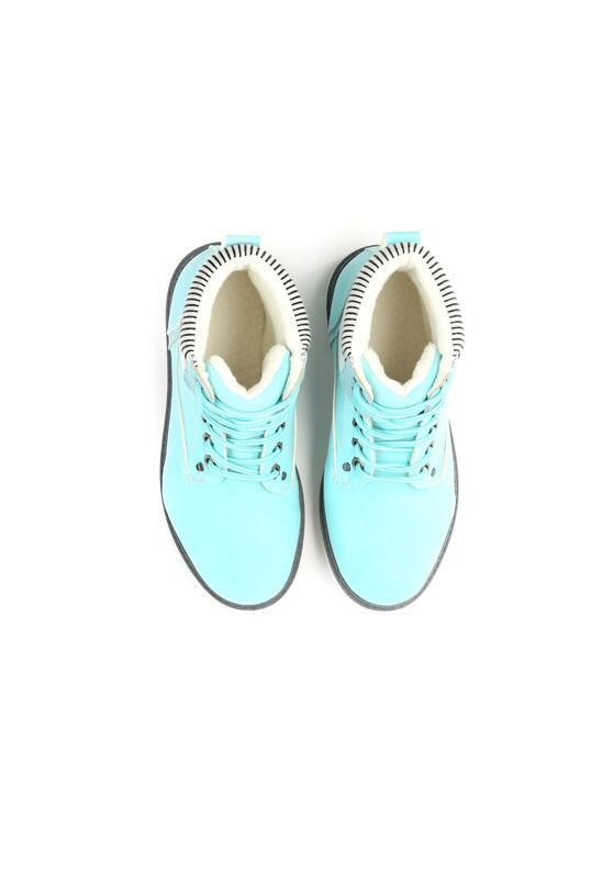 Niebieskie Traperki Fashion Casual