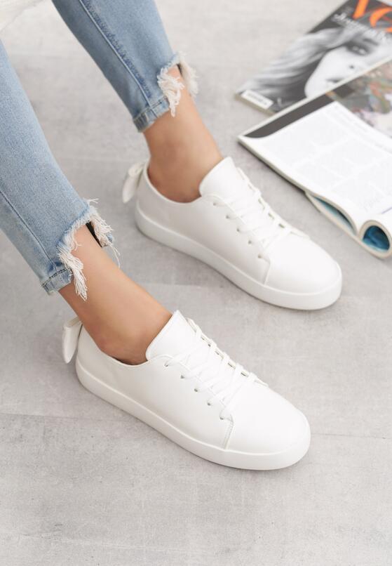 Białe Buty Sportowe Sparkling Bowknot