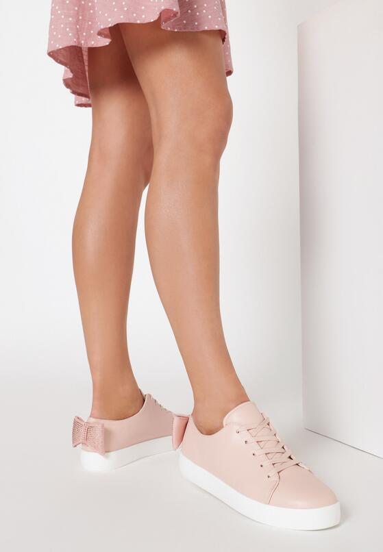 Różowe Buty Sportowe Sparkling Bowknot