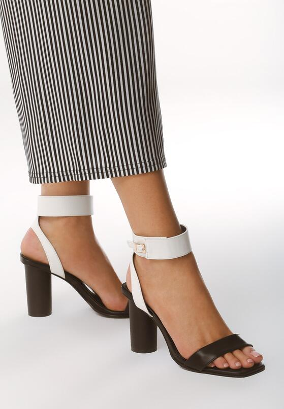 Czarno-Białe Sandały Stay Young