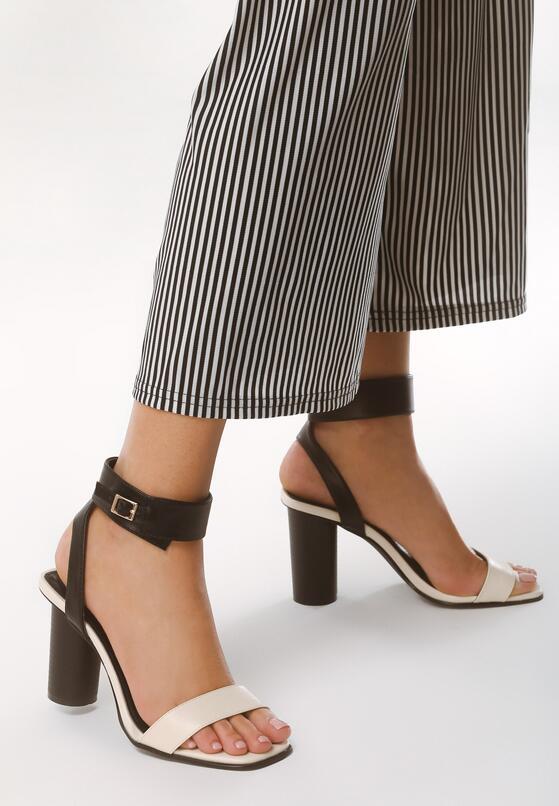 Czarno-Beżowe Sandały Stay Young