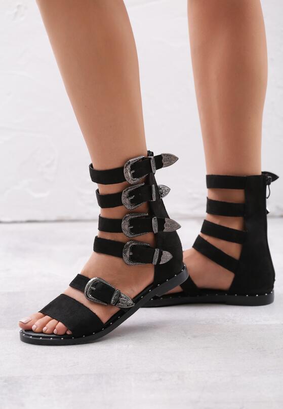 Czarne Zamszowe Sandały Healing