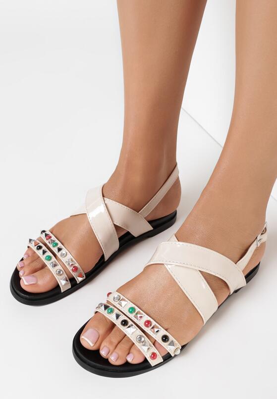 Beżowe Sandały Looped