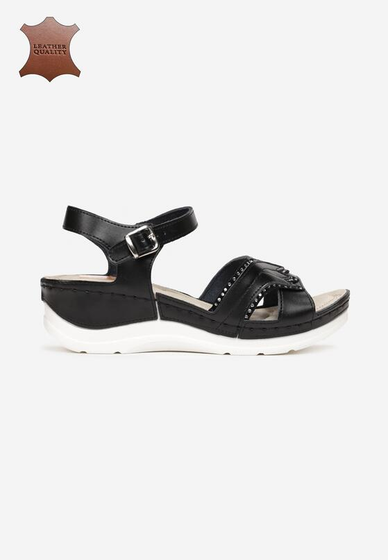 Czarne Skórzane Sandały No Surprises
