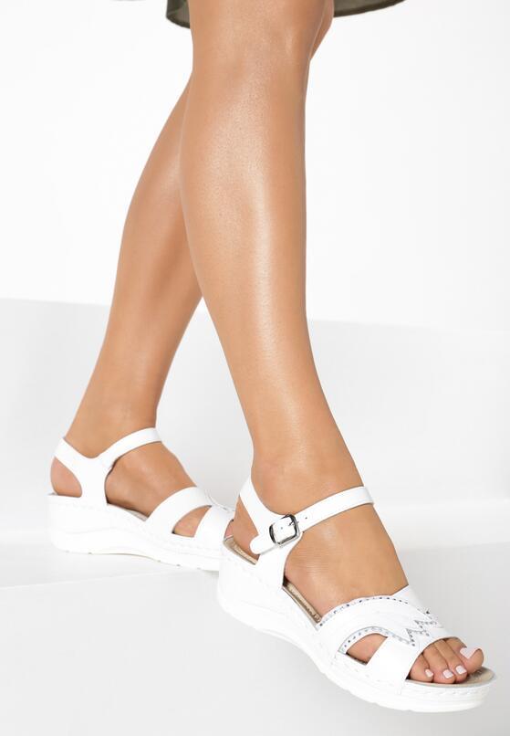 Białe Skórzane Sandały No Surprises