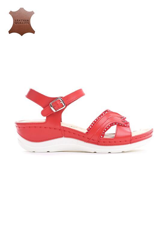 Czerwone Skórzane Sandały No Surprises