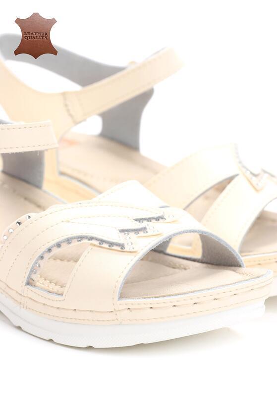 Beżowe Skórzane Sandały No Surprises