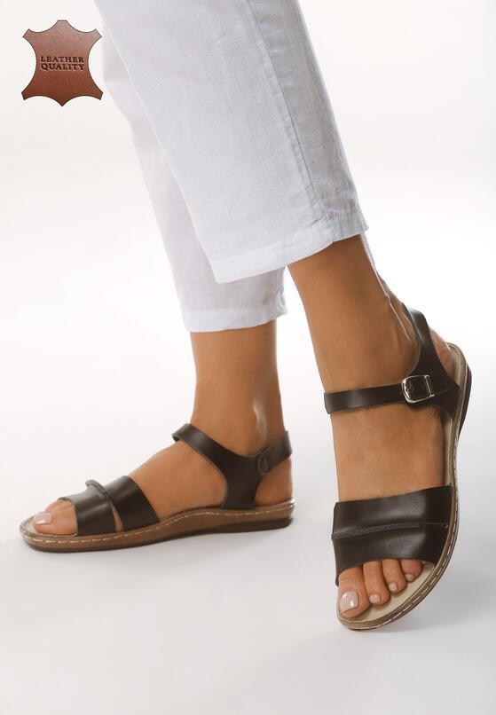 Czarne Skórzane Sandały Almond