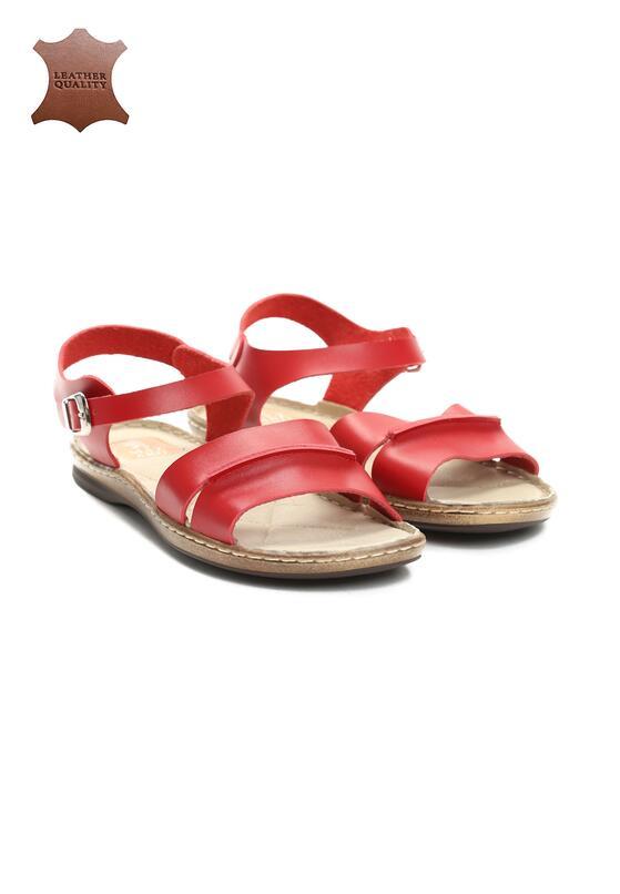 Czerwone Skórzane Sandały Almond