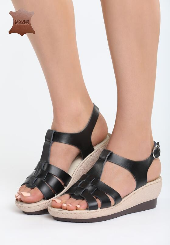 Czarne Skórzane Sandały Creature Comforts