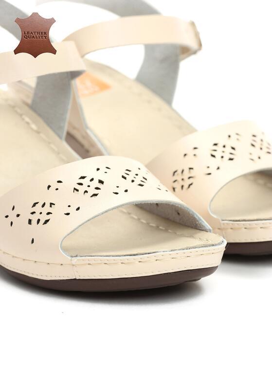 Beżowe Skórzane Sandały Contact