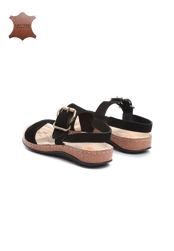 Czarne Skórzane Sandały Unknown Just