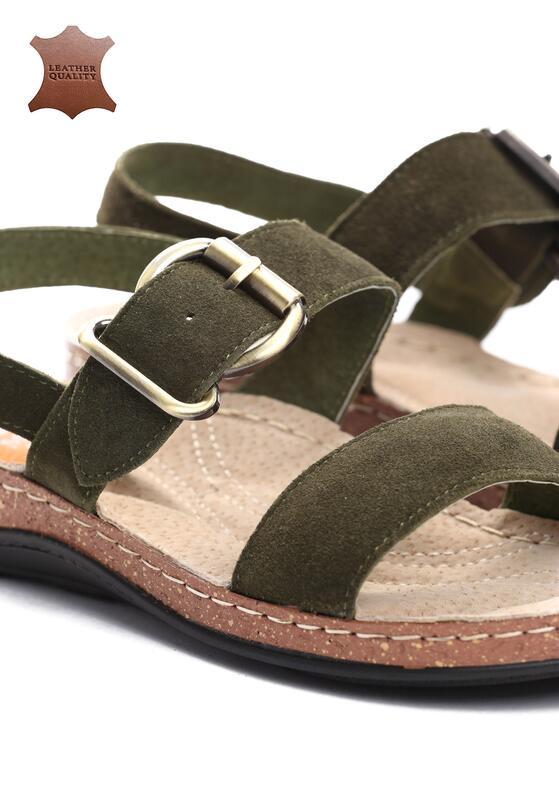 Zielone Skórzane Sandały Unknown Just