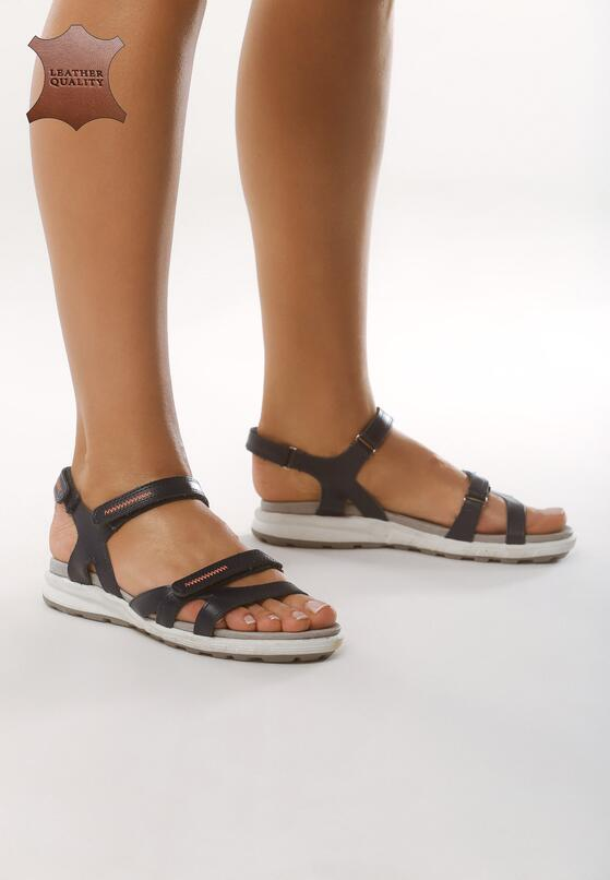 Granatowe Skórzane Sandały Drawn To Me