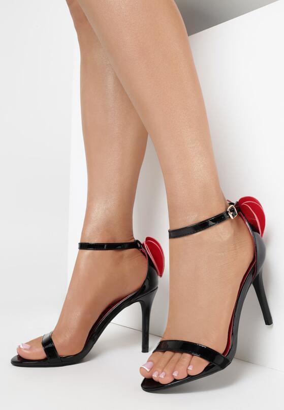 Czarne Sandały Red Lipstick