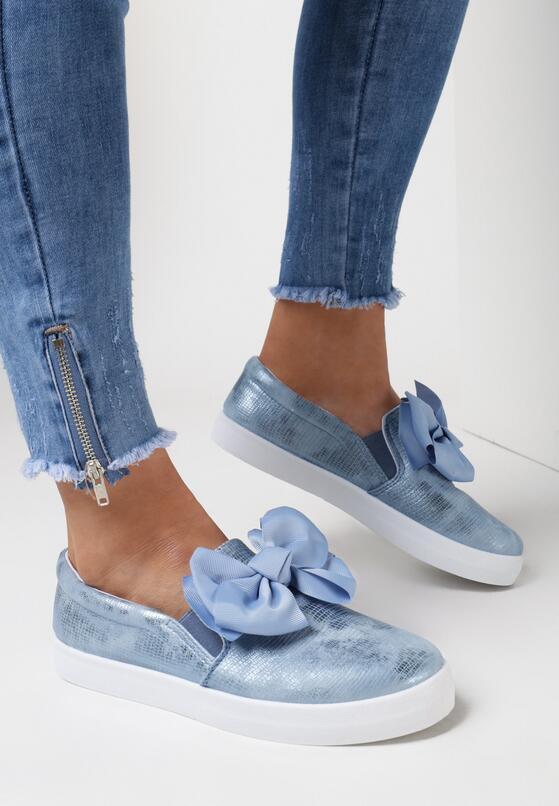 Niebieskie Slip On Rough Out