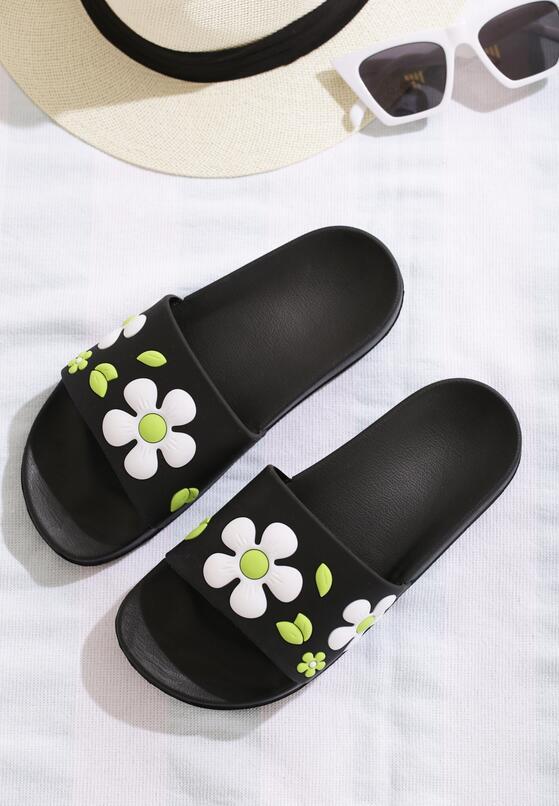 Czarno-Zielone Klapki Conker