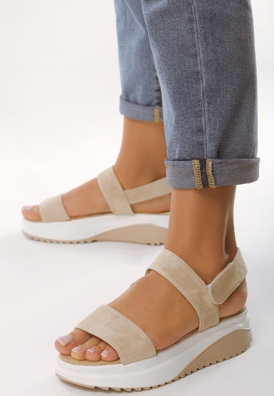 Beżowo-Białe Sandały Unrevealeds