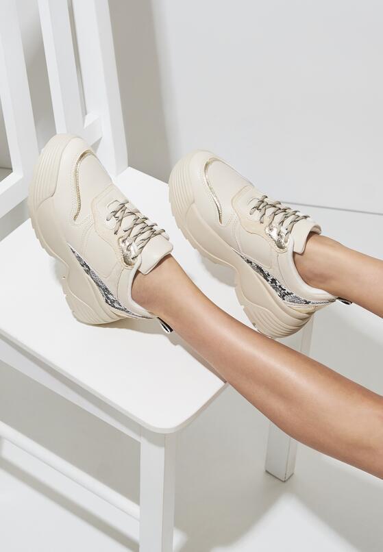 Beżowe Sneakersy Jazmin
