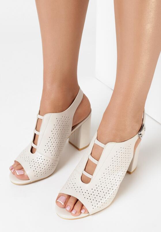 Jasnobeżowe Sandały Lephali