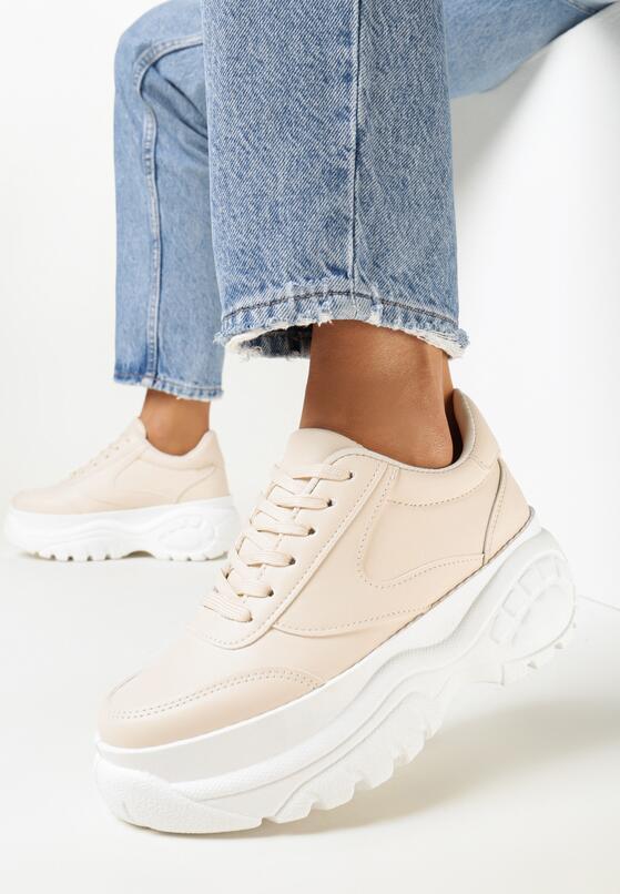 Beżowe Sneakersy Nude Mood
