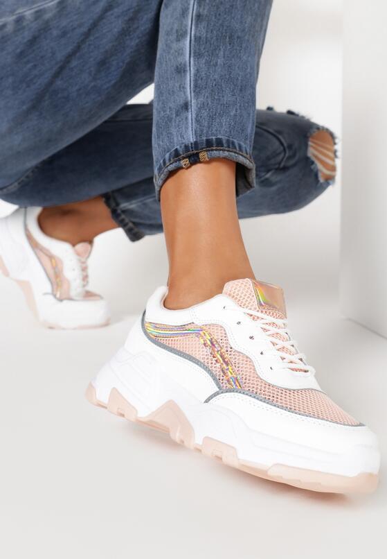 Biało-Różowe Sneakersy Maryfer