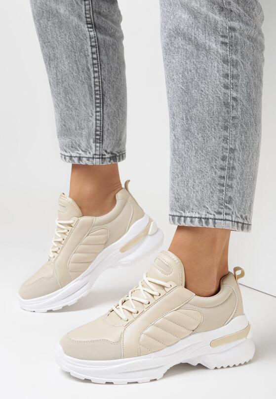 Beżowe Sneakersy Hyneh