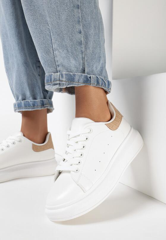 Biało-Beżowe Sneakersy Paella