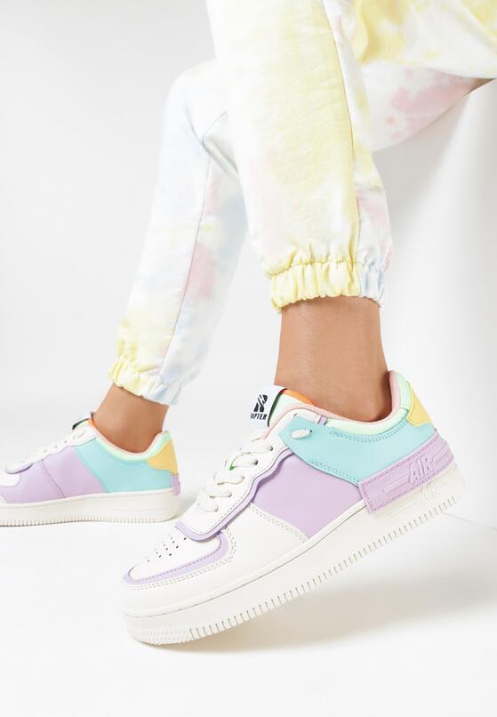 Beżowo-Liliowe Buty Sportowe Melome