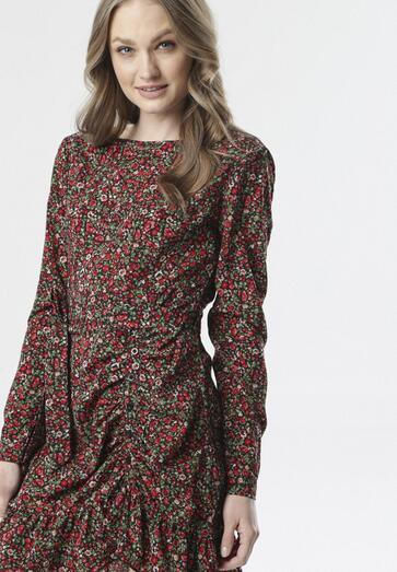 Czarno-Bordowa Sukienka Talimara