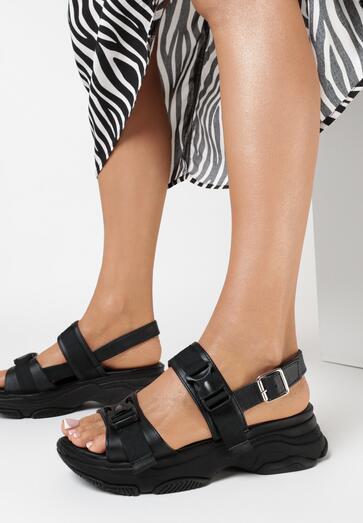 Czarne Sandały Sagaxaura