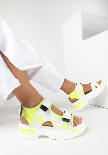 Biało-Limonkowe Sandały Thespohsa