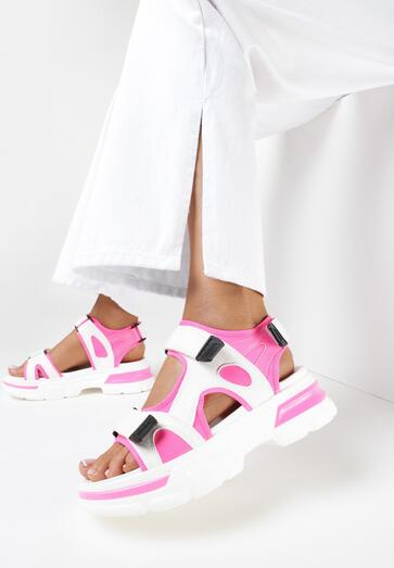 Biało-Różowe Sandały Thespohsa