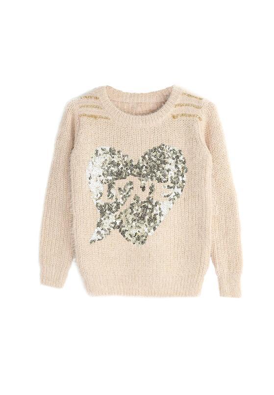 Różowy Sweterek My Sequins Heart