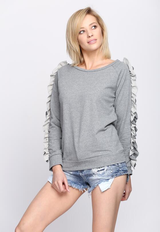 Szara Bluza Fancy Sleeves