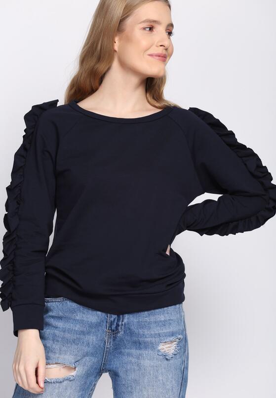 Granatowa Bluza Fancy Sleeves