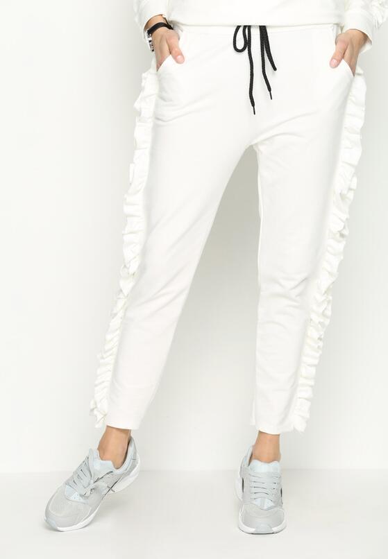 Białe Spodnie Dresowe Loosen