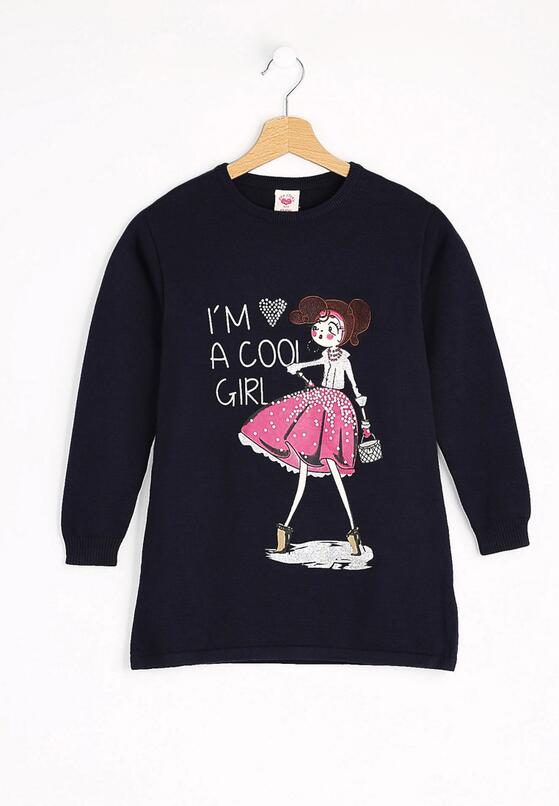 Granatowy Sweter Cool Girl