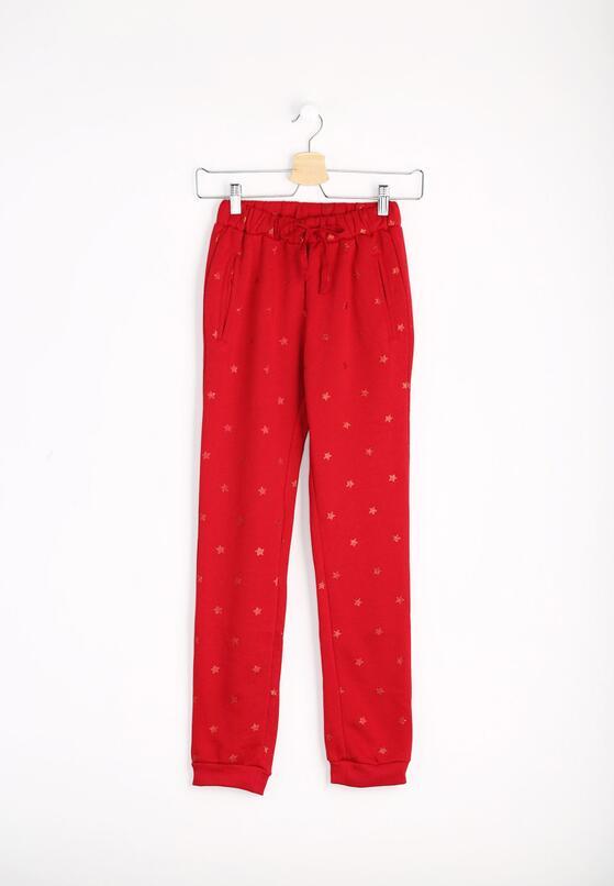 Czerwone Spodnie Dresowe Girls World