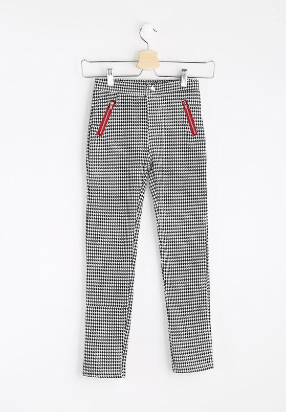 Czarno-Białe Spodnie Red Pockets
